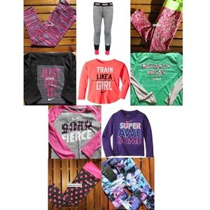10pc Nike Girls 6X Dri-fit Leggings Tops Purple